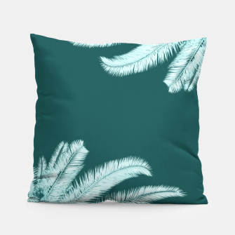 Miniatur Palm leaves on teal Pillow, Live Heroes
