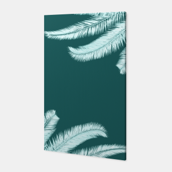 Miniatur Palm leaves on teal Canvas, Live Heroes
