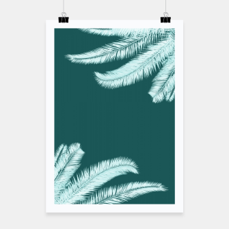 Miniatur Palm leaves on teal Poster, Live Heroes