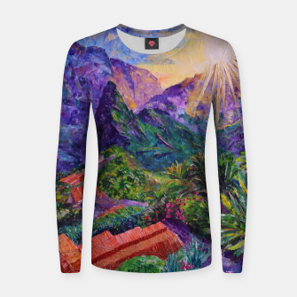 Thumbnail image of Sunset in green mountains Women sweater, Live Heroes