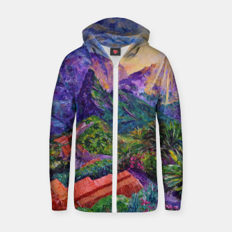 Thumbnail image of Sunset in green mountains Zip up hoodie, Live Heroes