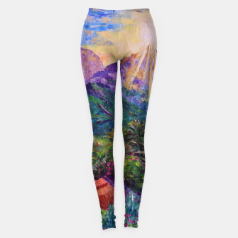 Thumbnail image of Sunset in green mountains Leggings, Live Heroes