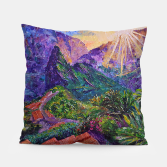 Thumbnail image of Sunset in green mountains Pillow, Live Heroes