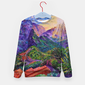Thumbnail image of Sunset in green mountains Kid's sweater, Live Heroes