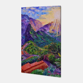 Thumbnail image of Sunset in green mountains Canvas, Live Heroes