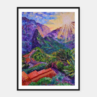 Thumbnail image of Sunset in green mountains Framed poster, Live Heroes