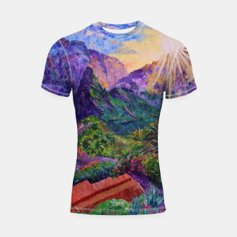 Thumbnail image of Sunset in green mountains Shortsleeve rashguard, Live Heroes