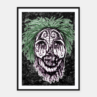 Thumbnail image of Creepy Zombie Head Illustration Framed poster, Live Heroes
