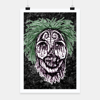 Thumbnail image of Creepy Zombie Head Illustration Poster, Live Heroes