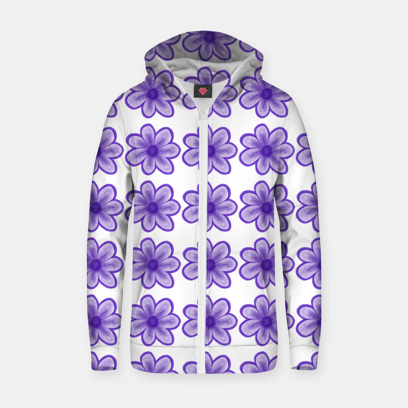 Image of mauve flowers Zip up hoodie - Live Heroes
