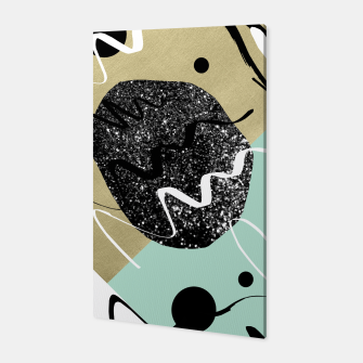 Miniatur Gold Mint Black White Abstract Glam #1 #trendy #decor #art  Canvas, Live Heroes