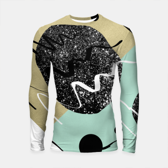 Thumbnail image of Gold Mint Black White Abstract Glam #1 #trendy #decor #art  Longsleeve rashguard, Live Heroes