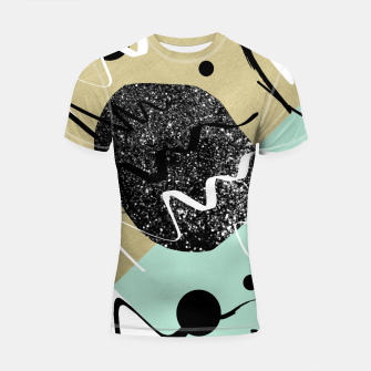 Thumbnail image of Gold Mint Black White Abstract Glam #1 #trendy #decor #art  Shortsleeve rashguard, Live Heroes