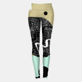 Thumbnail image of Gold Mint Black White Abstract Glam #1 #trendy #decor #art  Leggings, Live Heroes
