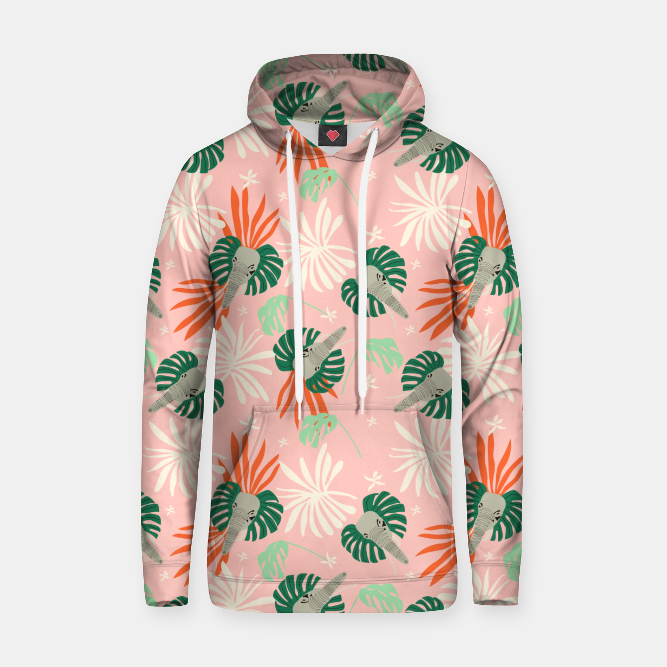 Image de Elephants in the pink jungle Sudadera con capucha - Live Heroes