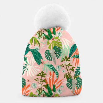 Elephants in the pink jungle 2 Gorro thumbnail image