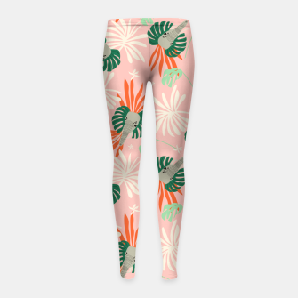 Miniature de image de Elephants in the pink jungle Leggings para niña, Live Heroes