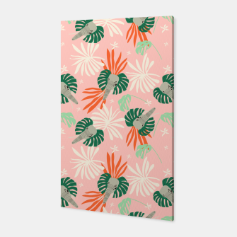 Elephants in the pink jungle Canvas miniature