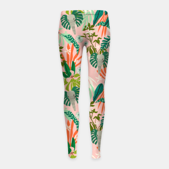 Miniature de image de Elephants in the pink jungle 2 Leggings para niña, Live Heroes
