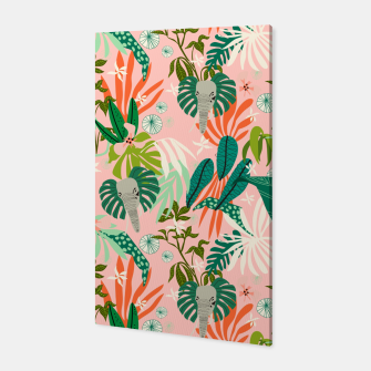 Elephants in the pink jungle 2 Canvas thumbnail image
