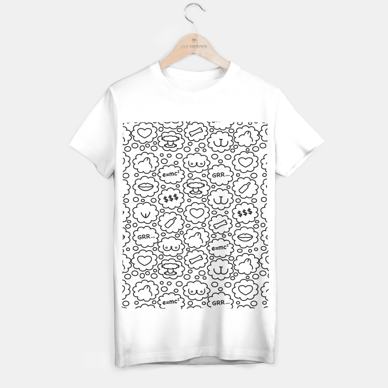 Zdjęcie Thought Bubbles Funny Sexy Comic Illustration T-Shirt regulär - Live Heroes