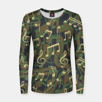 Thumbnail image of Music Note Camo WOODLAND Women sweater, Live Heroes