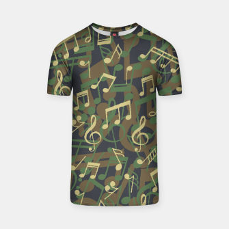 Thumbnail image of Music Note Camo WOODLAND T-shirt, Live Heroes