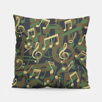 Thumbnail image of Music Note Camo WOODLAND Pillow, Live Heroes
