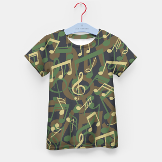 Thumbnail image of Music Note Camo WOODLAND Kid's t-shirt, Live Heroes