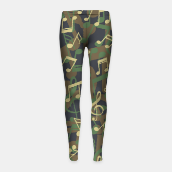 Thumbnail image of Music Note Camo WOODLAND Girl's leggings, Live Heroes