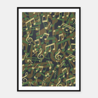 Thumbnail image of Music Note Camo WOODLAND Framed poster, Live Heroes