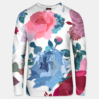 Thumbnail image of Blue and Pink Roses, Cosmos Flowers Vintage Style Pattern Unisex sweater, Live Heroes