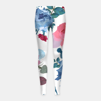 Miniatur Blue and Pink Roses, Cosmos Flowers Vintage Style Pattern Girl's leggings, Live Heroes