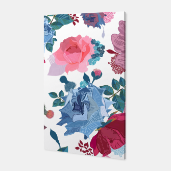 Miniatur Blue and Pink Roses, Cosmos Flowers Vintage Style Pattern Canvas, Live Heroes