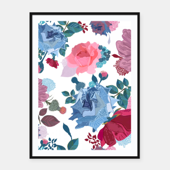 Thumbnail image of Blue and Pink Roses, Cosmos Flowers Vintage Style Pattern Framed poster, Live Heroes