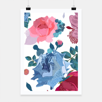 Thumbnail image of Blue and Pink Roses, Cosmos Flowers Vintage Style Pattern Poster, Live Heroes