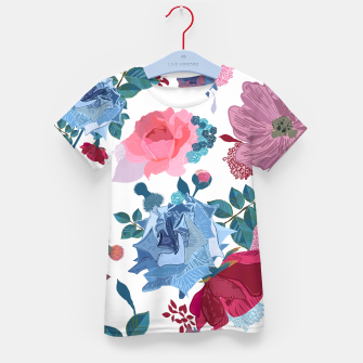 Thumbnail image of Blue and Pink Roses, Cosmos Flowers Vintage Style Pattern Kid's t-shirt, Live Heroes