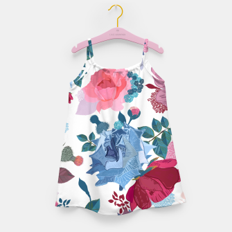 Miniatur Blue and Pink Roses, Cosmos Flowers Vintage Style Pattern Girl's dress, Live Heroes
