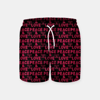 Thumbnail image of Peace and Love Typographic Pattern Swim Shorts, Live Heroes