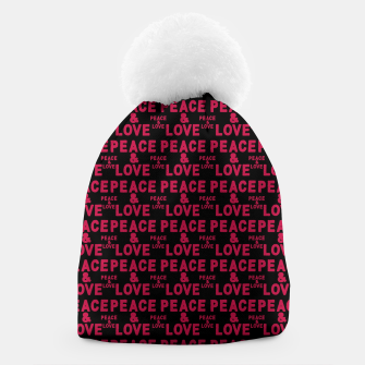 Thumbnail image of Peace and Love Typographic Pattern Beanie, Live Heroes