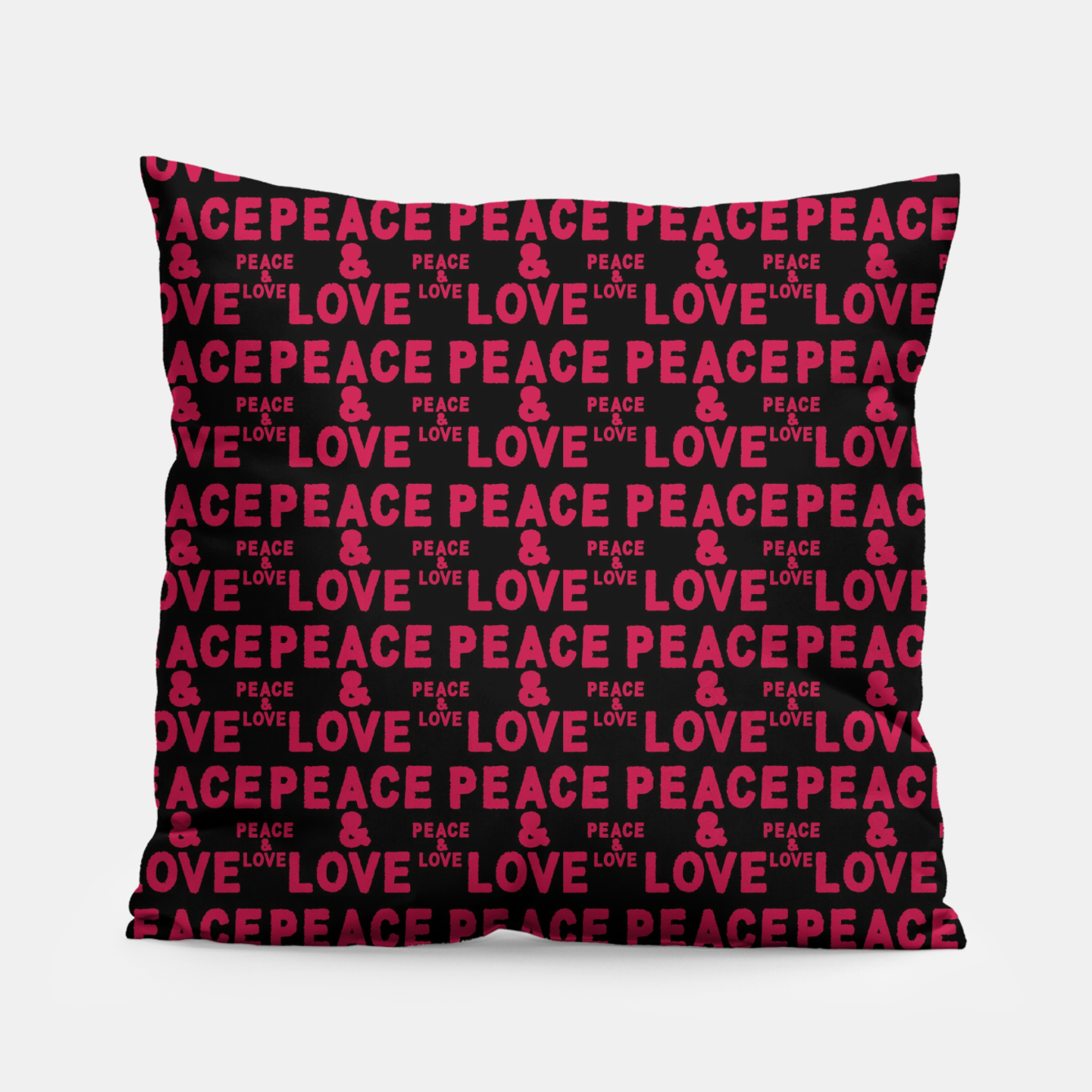 Image of Peace and Love Typographic Pattern Pillow - Live Heroes