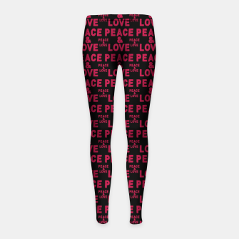 Thumbnail image of Peace and Love Typographic Pattern Girl's leggings, Live Heroes
