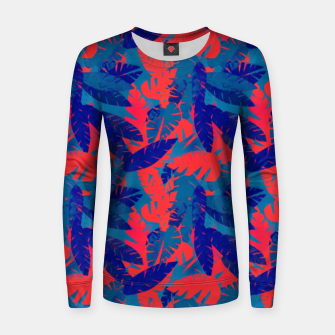 Thumbnail image of Leaves in Blue and Red – Women sweater, Live Heroes