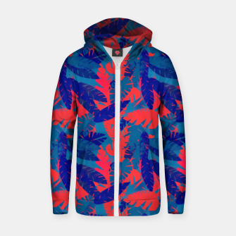 Thumbnail image of Leaves in Blue and Red – Zip up hoodie, Live Heroes