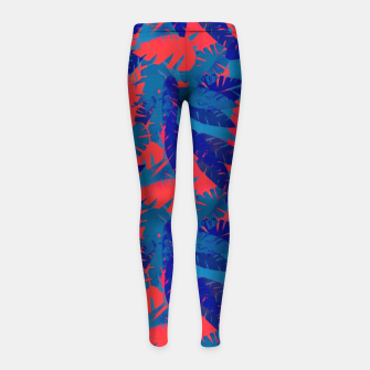 Thumbnail image of Leaves in Blue and Red – Girl's leggings, Live Heroes