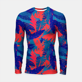 Thumbnail image of Leaves in Blue and Red – Longsleeve rashguard , Live Heroes