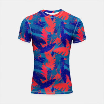 Thumbnail image of Leaves in Blue and Red – Shortsleeve rashguard, Live Heroes