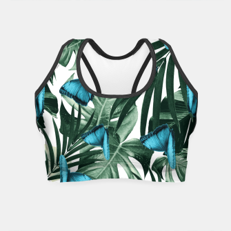 Miniatur Tropical Butterfly Jungle Leaves Pattern #5 #tropical #decor #art  Crop Top, Live Heroes