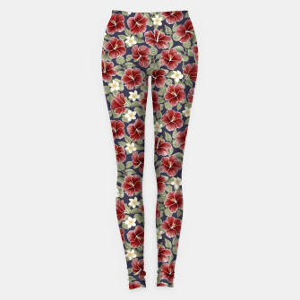Thumbnail image of Hibiscus and Plumeria - Maroon  Leggings, Live Heroes