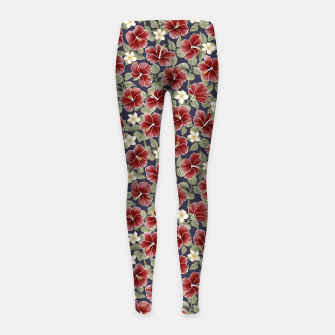 Thumbnail image of Hibiscus and Plumeria - Maroon  Leggings para niña, Live Heroes